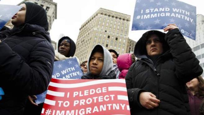 Manifestación en apoyo a los musulmanes en Nueva York.