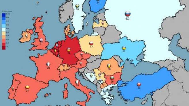 Mapa de Europa con el porcentaje de ciudadanos de cada país dispuesto participar en una guerra para defender su patria.