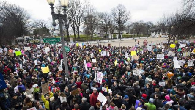 Manifestación en contra de las políticas antiinmigración de Donald Trump.