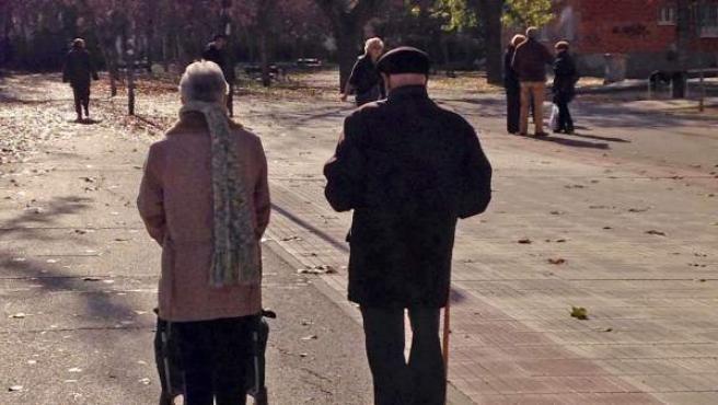 Un par de ancianos pasean por un parque.