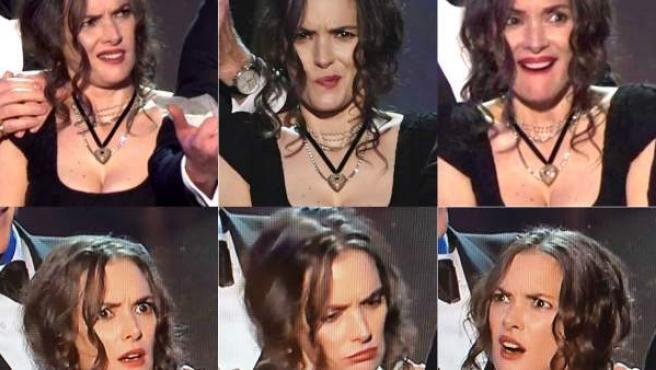 Los rostros de Winona Ryder durante el discurso de su compañero David Harbour en los premios del Sindicato de Actores.