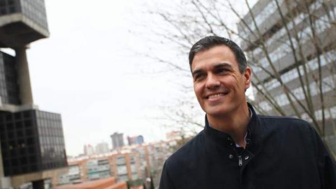 Pedro Sánchez, en su visita al periódico 20minutos.
