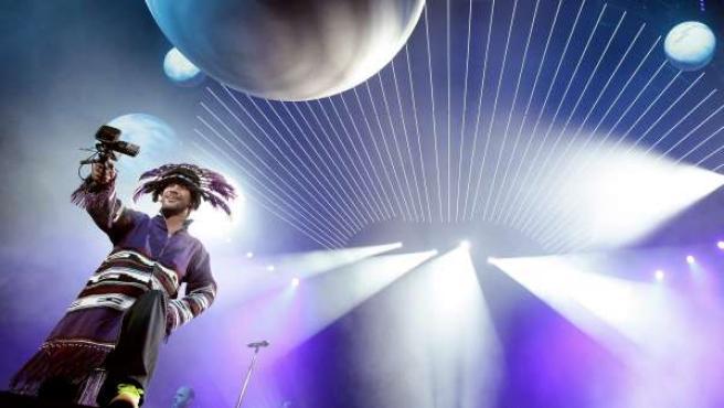 El líder británico de la banda Jamiroquai, Jay Kay, durante un concierto en Viena.