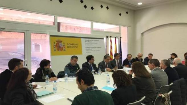 El delegado del Gobierno en Catalunya, Enric Millo, en una reunión en Girona
