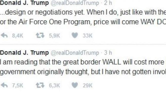 Otro tuit de Trump sobre el muro entre México y EEUU.