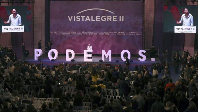 El secretario general de Podemos, Pablo Iglesias, durante su intervención en primera jornada de la Asamblea Ciudadana Estatal de Vistalegre II.