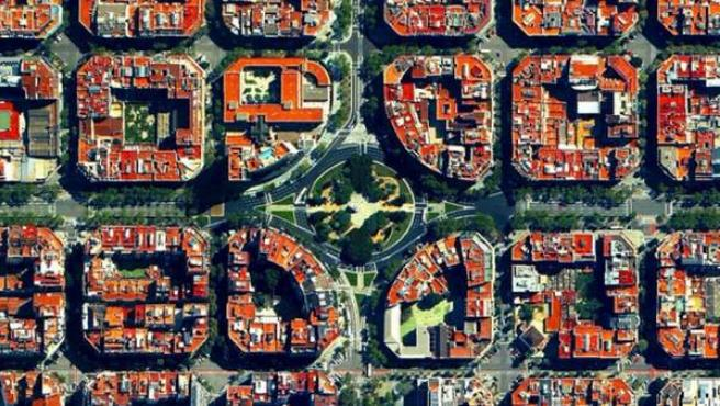 El distrito barcelonés del Eixample, diseñado por Ildefons Cerdà.