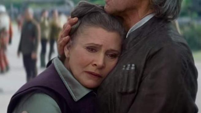Carrie Fisher, en su papel como Leia en 'El despertar de la Fuerza'.