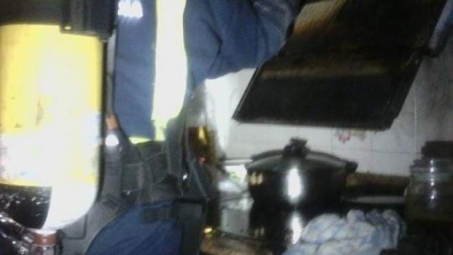 Imagen de la cocina incendiada