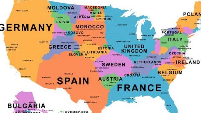 Mapa De Paises Europeos.Paises Distribuidos En El Mapa De Estados Unidos Segun Su