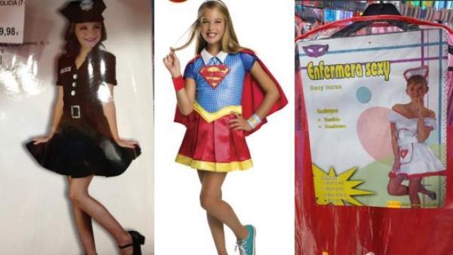 Ejemplos de disfraces infantiles hipersexualizados.