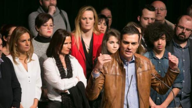 El exsecretario general del PSOE y candidato a las primarias del partido, Pedro Sánchez, en un acto con militantes en Zaragoza.