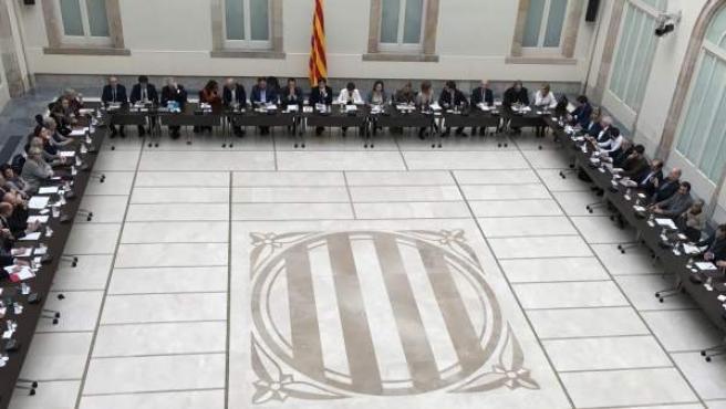 Imagen de una de las reuniones del Pacte Nacional pel Referèndum.