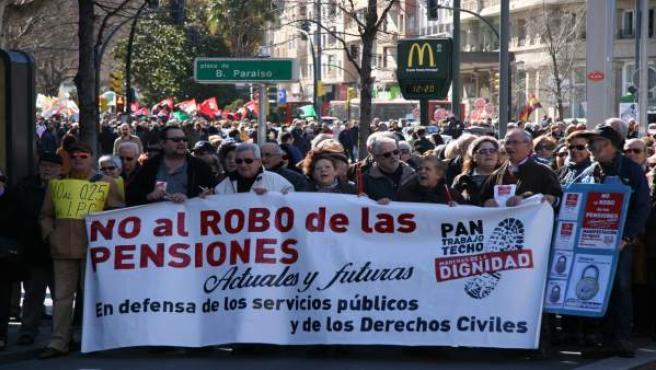 Manifestación de las Marchas de la Dignidad para defender las pensiones públicas