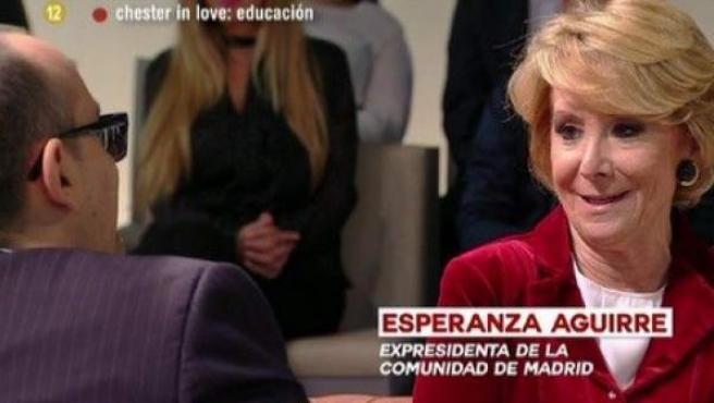 Esperanza Aguirre, en el sofá con Risto Mejide.