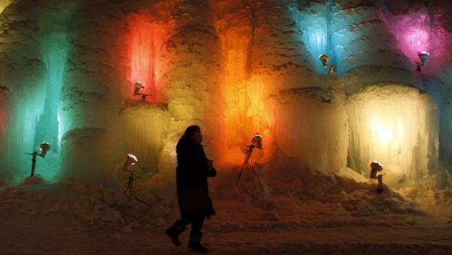 Una instalación del festival de esculturas de hielo en Chitose, en la isla japonesa de Hokkaido.