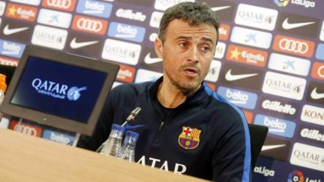 Luis Enrique, entrenador del Barça, en rueda de prensa.