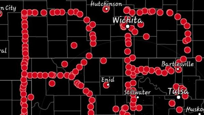 Las iniciales del actor Bill Paxton dibujadas con puntos sobre el mapa de Oklahoma mediante GPS.