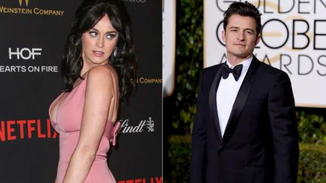 Katy Perry y Orlando Bloom, en los Globos de Oro 2016.