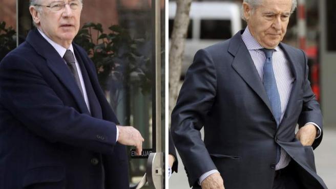 Fotografías de los expresidentes de Caja Madrid, Rodrigo Rato (i) y Miguel Blesa (d), hoy en la Audiencia Nacional.