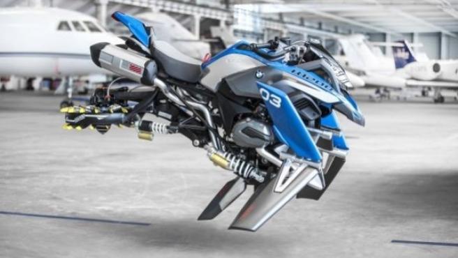 Este prototipo de moto, llamado BMW Hover Ride, tiene su origen en el modelo de LEGO Technic BMW R 1200 GS Adventure.