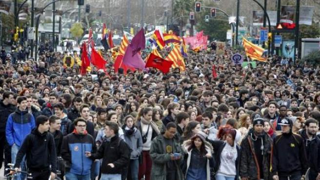 Imagen de archivo de una protesta contra la Lomce en Zaragoza.