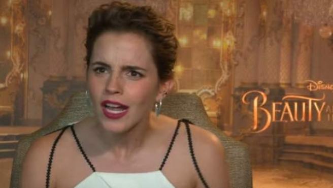 Emma Watson, durante una entrevista para promocionar la película 'La Bella y la Bestia'.
