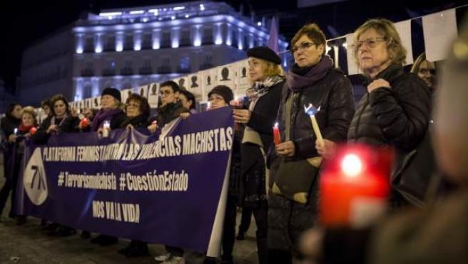 Concentración en la Puerta del Sol de Madrid, convocada por la Plataforma Feminista contra las Violencias Machistas 7N, en vísperas del Día Internacional de la Mujer 2017.