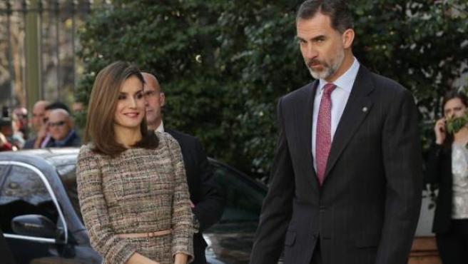 Felipe y Letizia, en la inauguración de la última exposición en el Museo Thyssen de Madrid.