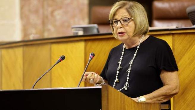 La consejera de Educación, Adelaida de la Calle, en el Pleno del Parlamento