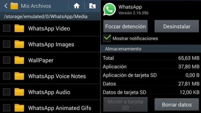 Es importante no confundir la carpeta 'Media' (o 'Mis archivos') con la que permite borrar datos de Whatsapp.