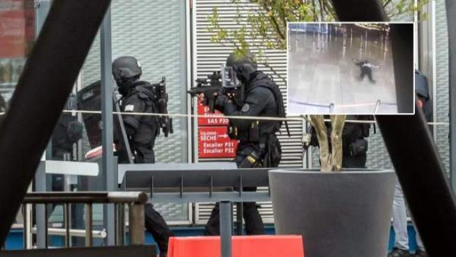 Imagen de las fuerzas de seguridad y del atacante abatido en el aeropuerto París-Orly.