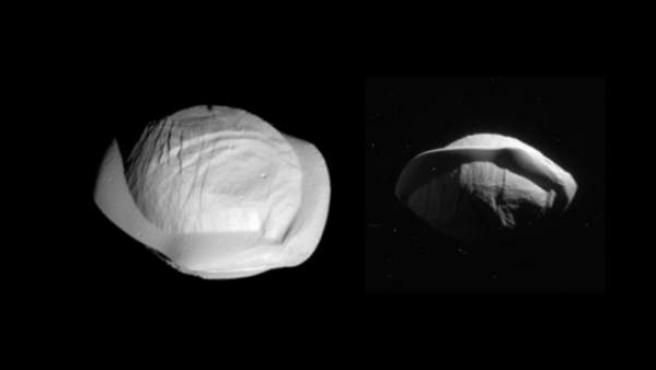 Imagen de la luna Pan de Saturno, que tiene forma de ravioli.