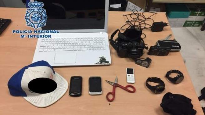 Efectos recuperados que habían sido robados en asaltos a viviendas del Albaicín