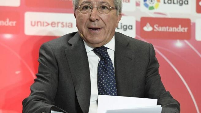 Enrique Cerezo, presidente del Atlético de Madrid, en un acto de LaLiga.