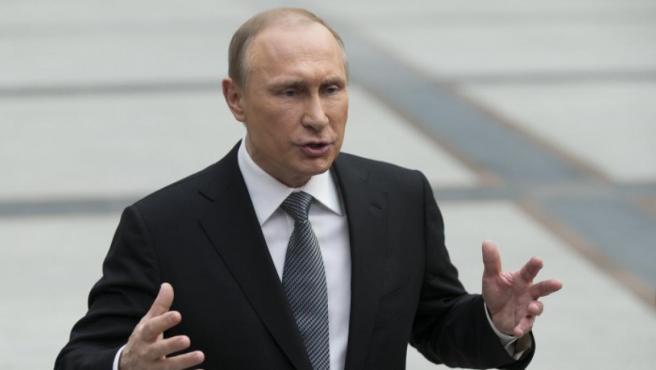 Vladimir Putin en una rueda de prensa en el Kremlin.