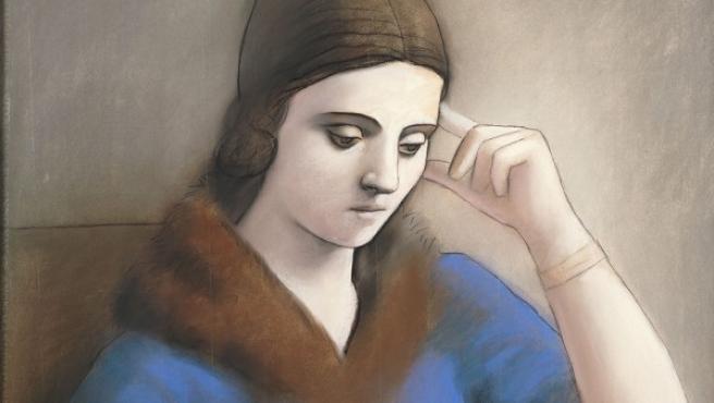 'Olga pensativa' dibujada por Picasso en 1923