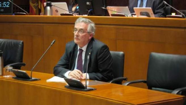 Joaquín Olona en su comparecencia esta tarde en las Cortes