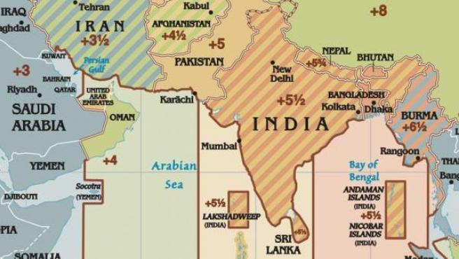 Imagen en detalle de los husos horarios en el sur de Asia.