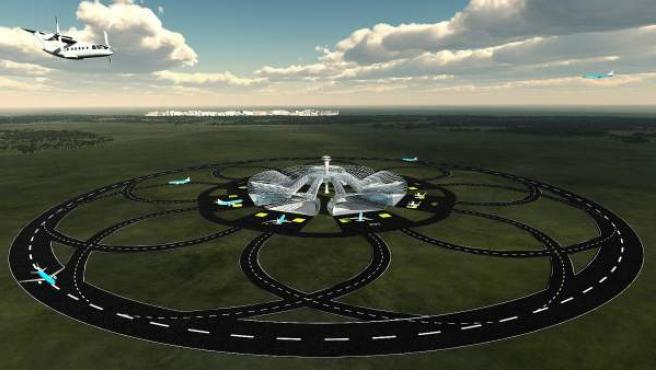 Imagen facilitada por el Centro Aeroespacial de Holanda del diseño virtual de 'la pista sin fin', un proyecto que planea construir en el futuro aeropuertos con pistas de aterrizaje circulares y cuenta con fondos de la Comisión Europea.