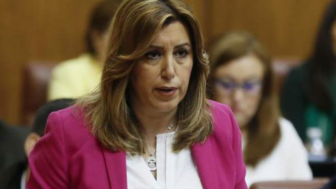 La presidenta de la Junta de Andalucía, Susana Díaz, durante la sesión de control en el Parlamento andaluz en Sevilla.