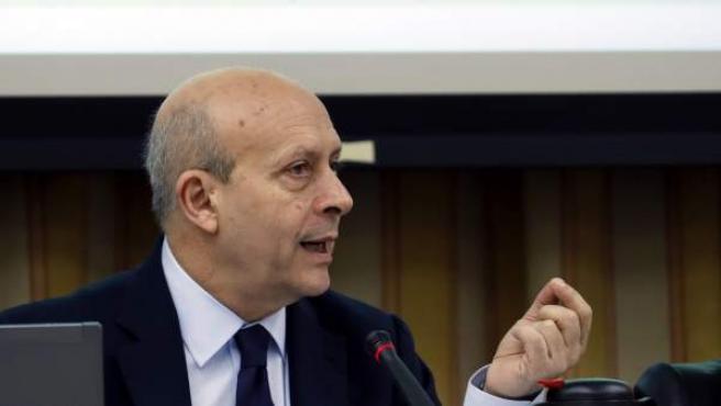 El exministro de Educación, José Ignacio Wert, durante su comparecencia en la Comisión de Educación del Congreso.