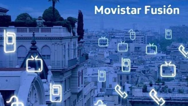Imagen promocional de la oferta Movistar Fusión.
