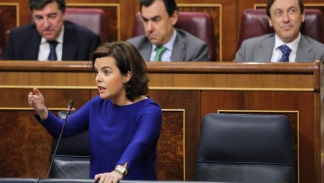 Soraya Sáenz de Santamaría en la sesión de control al Gobierno en el Congreso.