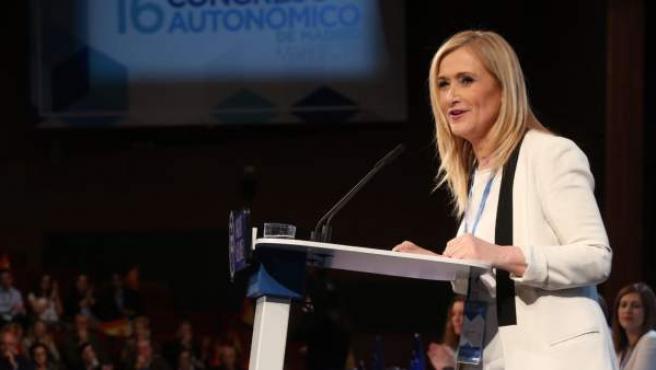 Cristina Cifuentes, en el congreso regional del PP de Madrid.