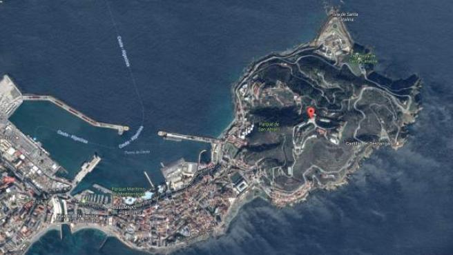 Señalización en Google Maps de la zona conocida como Monte Hacho, en Ceuta.