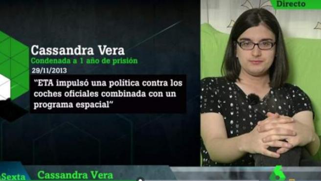Cassandra Vera, entrevistada en el programa La Sexta Noche.