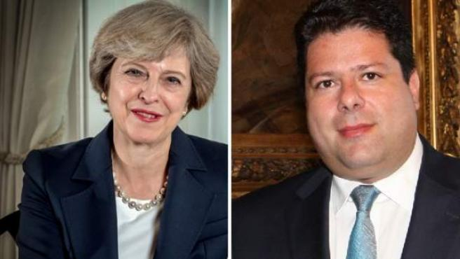 Theresa May y Fabian Picardo, primera ministra británica y primer ministro de Gibraltar, respectivamente.