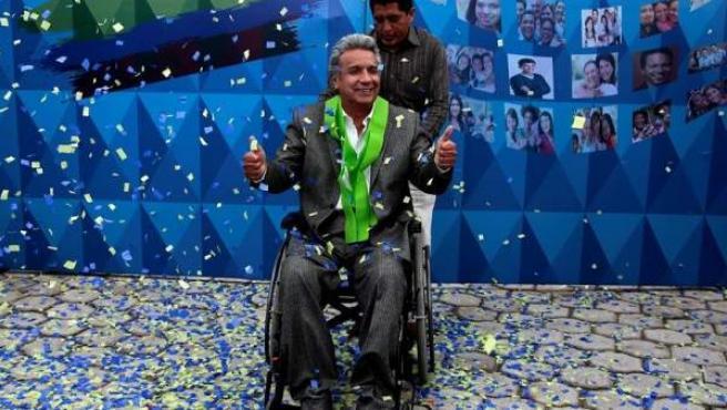 Lenín Moreno es recibido en la sede de su campaña en Quito, Ecuador, después de que el Consejo Nacional Electoral confirmara su triunfo en las elecciones presidenciales.