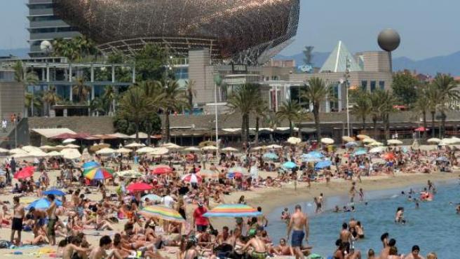 Locales y turistas comparten la arena de la playa urbana de la Barceloneta.